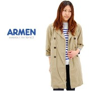 【BASIC】ARMEN アーメン レディース 3/4 LSEEVE DOUBLE BREASTED COAT[NMPA1302]