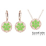 Victorian Style24K Pink Gold over .925 Sterling Silver Pendant and Earrings Set by Lucia Costin Enhanced with Lace Ornaments and Light Green Swarovski...