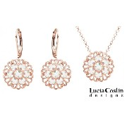 Lucia Costin 24K Pink Gold over .925 Sterling Silver Pendant and Earrings Set with Filigree Elements and White Swarovski Crystal Accents; Handmade in...