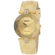 Jowissa ヨヴィッサ レディース腕時計 Women's J5.187.M Facet Strass Gold PVD Stainless Steel Beige Leather Band Crystal Watch
