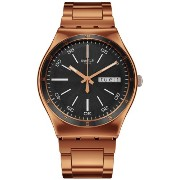 スウォッチ ユニセックス 男女兼用 腕時計 Swatch Unisex YGG704G Rose-Gold Stainless-Steel Swiss Quartz Watch with Black Dial
