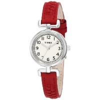Timex タイメックス レディース腕時計 Women's T2N661 Weekender Petite Red Woven Leather Strap Watch