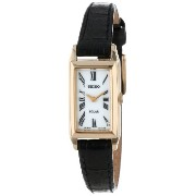 Seiko セイコー レディース腕時計 Women's SUP044 Stainless Steel and Black Leather Strap Baguette Solar Watch