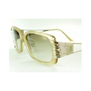 Cazal カザール サングラス 8005-003 Rectangle Sunglasses,Pearl & Gold Frame/Grey Gradient Lens,57 mm