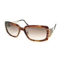 Cazal カザール サングラス 8005-002 Rectangle Sunglasses,Amber & Gold Frame/Grey Gradient Lens,57 mm