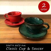 SANTA RICO Ave. Classic cup & saucer クラシック カップ&ソーサー アンティーク レトロ 青 ブルー 赤 レッド 陶器 日本製...