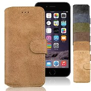 iNTAG iPhone6s Plus ケース ヴィンテージ スエード レザー ケース アイフォン6/6s Plus 5.5インチ 対応 Vintage Leather Diary Case...