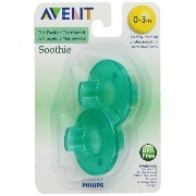 Philips 2 Pack AVENT Soothie Pacifier, Green, 0-3 Months