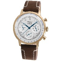 Davis 1926 メンズ医者レトロ腕時計 Mens Rose Gold Doctor Retro Watch- Silver Dial- Day/Date- Pulsometer -Brown Leather Strap