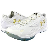 """Under Armour Charged Foam Curry 1 Low """"CHAMPIONSHIP""""メンズ White/White/Metallic Gold アンダーアーマー カリー1ロー バッシュ ステ..."""