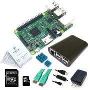 Eleduino Raspberry Pi 3 model B 8 in One Start Kit/ Black ABS case/16G SD Card/HDMI Cable/heatsinks/5V 2.5A adapter /Micro usb Cable With ON/OFF Control...