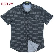 REPLAY/リプレイ M4931 Floral shirt with chest pocket 小花柄プリント入り、半袖シャツ Nearly Black/Micro flower(ダークネイビ...