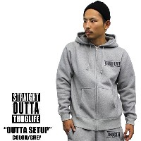 THUGLIFE / サグライフ 長袖スウェットセットアップ STRAIGHT OUTTA THUGLIFE 灰 グレーB系 HIPHOP アウトロー メンズ ファ...