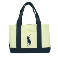 POLO RALPH LAUREN ポロ ラルフローレン トートバッグ 950259 Natural/Navy SCHOOL TOTE MD