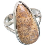Fossil Coral シルバー925リング8