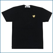 PLAY COMME des GARCONS(プレイコムデギャルソン) GOLD HEART ONE POINT TEE (Tシャツ) BLACKxGOLD 400-006748-041