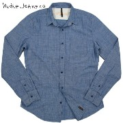 【SALE】30%OFF★Nudie Jeans co(ヌーディージーンズ) FITTED SHIRT ORGANIC CHAMBRAY (オーガニックコットン、シャンブレー...