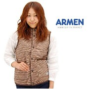 【BASIC】ARMEN アーメン レディース WOOL CHECK REVERSIBLE HOODED VEST[NAM0971WC]【クーポン対象外】
