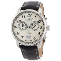 Zeppelin ツェペリン ツェッペリン メンズ 腕時計 76845 Chronograph Large Date Brown Leather Strap With Cream Dial