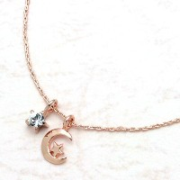[Jewelry Shop M]お肌に優しいニッケルフリー 高級極細キラキラチェーン スター&メタル三日月 ネックレス ピンク...