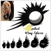 14mm Black Spiked Wing スパイク ウィング シリコン ダブルフレア ホール ボディピアス 【BodyWell】