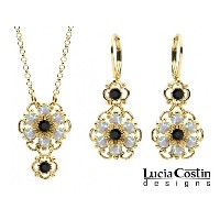 Dainty Pendant and Earrings Set by Lucia Costin with Twisted Lines, 4 Petal Flowers and Dots, Black and White Swarovski Crystals; 14K Yellow Gold over...