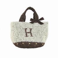 Initial イニシャル 柔らか カゴバッグ 大人ガーリー Paper Bag 【H】 Brown