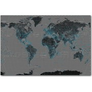 ポスター 世界地図 WORLD MAP BLACK WITH BLUE