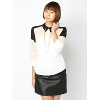 【SALE/65%OFF】PAL GROUP OUTLET [アウトレット]【W】レースバイカラーシャツ アウトレット シャツ/ブラウス【RBA_S】...