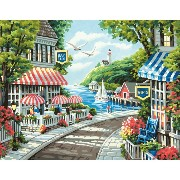 "Paint By Number Kit 11""X14""-Cafe By The Sea (並行輸入品)"
