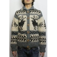 KANATA (カナタ) REDWOOD別注 '12 DEER COWICHAN SWEATER (IVORY / CHARCOAL) 36