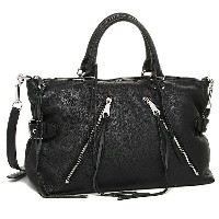 レベッカミンコフ バッグ REBECCA MINKOFF HS15EMOS27 001 PEBBLED LEATHER LARGE MOTO SATCHEL ショルダーバッグ BLACK/SILVER