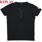 REPLAY/リプレイ M6884 Jersey T-shirt with buttons ヘンリーネックカットソー/半袖ヘンリーネックTシャツ OFF BLACK(オフブ...