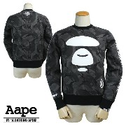 Aape BY A BATHING APE エイプ エーエイプ アベイシングエイプ スウェット トレーナー ブラックカモ AAPE MOONFACE PULLOVERS...