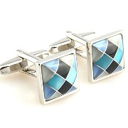 紳士カフスボタンSquare Blue/black Peal Shell Cufflinks Vintage Wedding Gift