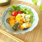 【50】OFF【OUTLET】アウトレット 渕波藍色市松×6丸紋 煮物浅鉢/和食器/美濃焼/