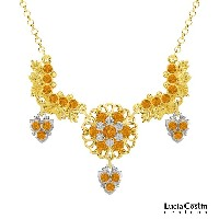 Lucia Costin Necklace Made of 24K Yellow Gold Plated over .925 Sterling Silver with Leaf and Flower Elements, Embellished with Yellow Swarovski Crystals...