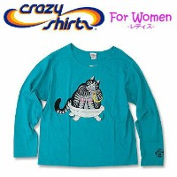 Crazy Shirts(クレイジーシャツ)-Womens- L/S Scoop Neck Tee @Kliban Cats[2006888] RUBBER DUKKIE CAT クリバンキャット 長袖 Tシャツ HAWAII...
