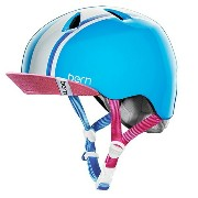 【送料無料】 BERN 子供用ヘルメット bern/NINA ALL SEASON(S-M:51.5〜54.5cm/GLOSS CYAN RACING STRIPE/PINK VISOR )推奨年齢3-6歳