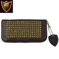 日本国内送料・代引き手数料無料 正規取扱店 HTC(Hollywood Trading Company) #14 T-1 Pyramid Brass Studs ZIPPER LONG WALLET (ピラ...