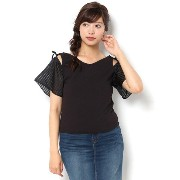 CECIL McBEE(セシルマクビー)シアーチェック袖VネックTOPS312561896【セシルマクビー/CECIL McBEE Tシャツ・カットソー】