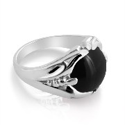 925 Sterling Silver Mens Ring with Large Cabochon Black Onyx Stone (10)