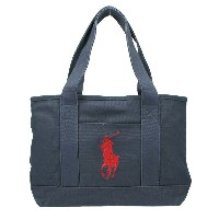 POLO RALPH LAUREN ポロ ラルフローレン トートバッグ 959009 Navy Canvas/Red SCHOOL TOTE MD