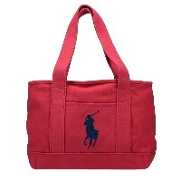 POLO RALPH LAUREN ポロ ラルフローレン トートバッグ 959008 Red Canvas/Navy SCHOOL TOTE MD