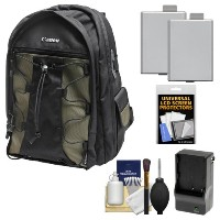 Canon 200EG Deluxe デジタル SLR Camera バックパック ケース + (2) LP-E5 Batteries + Charger + アクセサリー キット for Canon EOS Rebel...