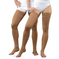 23-32 mmHg Graduated Medical COMPRESSION STOCKINGS Open Toe, Class II Thigh High (S, beige)