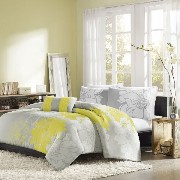 Home Essence Chloe 4-Piece Comforter Set, Queen, Yellow [並行輸入品]
