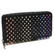 クリスチャン ルブタン CHRISTIAN LOUBOUTIN 3165036 W PANETTONE WALLET CALF P/SPIKES MIX B098 BLACK/MULTI METAL ラウンドファスナー