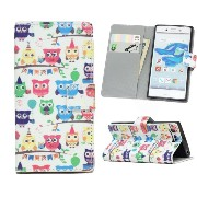DY Xperia X compact かわいいフクロウ 手帳型ケース W471XCOW