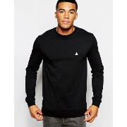ASOS エイソス Muscle Sweatshirt With Embroidery In Black